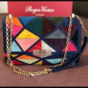 Roger Vivier Prismick suede leather handbag